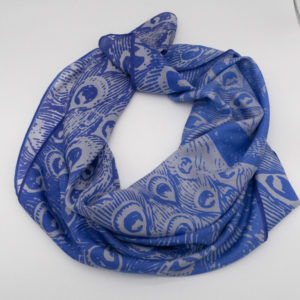 Tuch Pfau Blau Seide 110x110