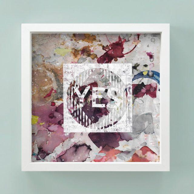 Bild YES  Der aquarellierte Hintergrund (ArtByChance) wird von Hand bedruckt und inklusive Rahmen zugesandt. Jedes Bild ist ein Unikat und handgefertigt- jetzt im Musterstudio Onlineshop #modernaquarel  #handprints #decorations